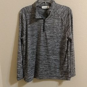 Polyester spandex zip front top